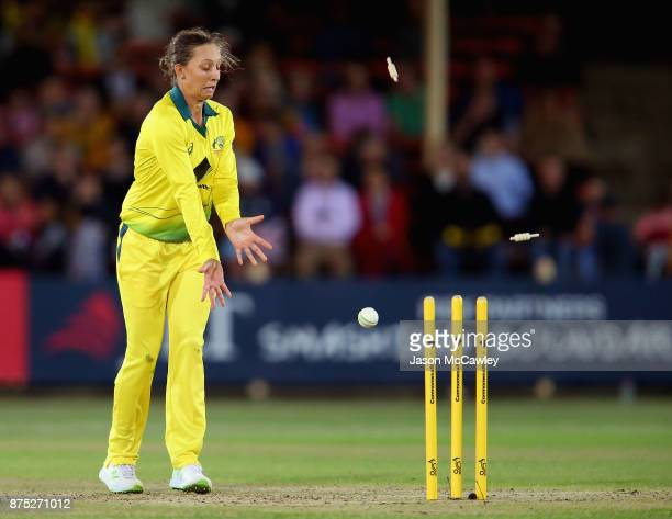 Ashleigh Gardner of Australia fields during the first Women's Twenty20 match between Australia and England at North Sydney Oval on November 17 2017...