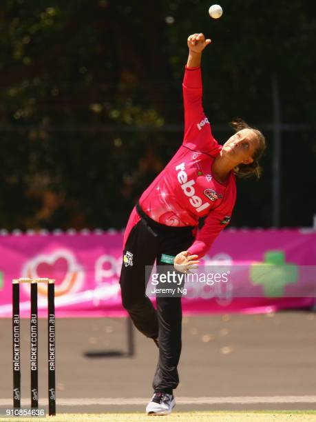 Ashleigh Gardner of Sixers bowls during the Women's Big Bash League match between the Adelaide Strikers and the Sydney Sixers at Hurstville Oval on...