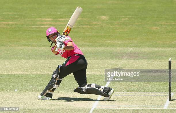 Ashleigh Gardner of the Sixers bats during the Women's Big Bash League match between the Brisbane Heat and the Sydney Sixers at Hurstville Oval on...