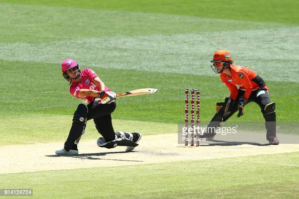 Ashleigh Gardner of the Sixers bats during the Women's Big Bash League final match between the Sydney Sixers and the Perth Scorchers at Adelaide Oval...