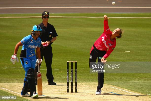 Ashleigh Gardner of the Sixers bowls during the Women's Big Bash League match between the Adelaide Strikers and the Sydney Sixers at Hurstville Oval...