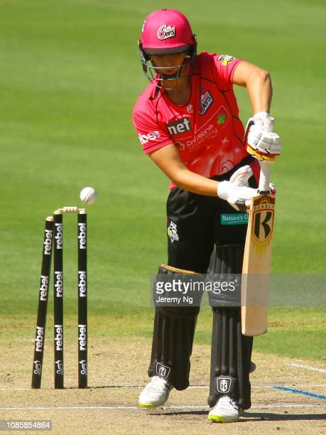 Ashleigh Gardner of the Sixers is bowled during the Women's Big Bash League match between the Sydney Sixers and the Brisbane Heat at Hurstville Oval...