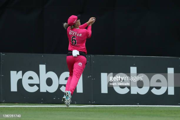 Ashleigh Gardner of the Sixers takes a catch during the Women's Big Bash League WBBL match between the Sydney Sixers and the Adelaide Strikers at...