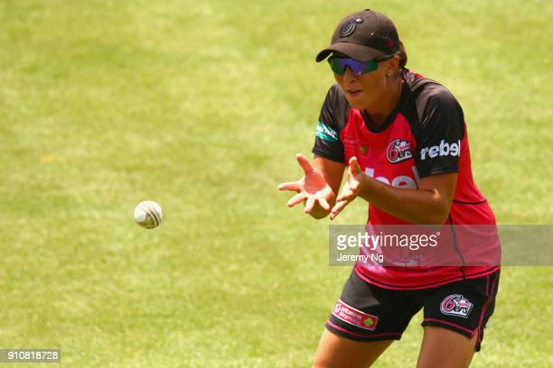 Ashleigh Gardner of the Sixers warms up prior to the Women's Big Bash League match between the Adelaide Strikers and the Sydney Sixers at Hurstville...