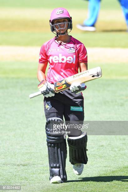Ashleigh Gardner of the Sydney Sixers out during the Women's Big Bash League match between the Adelaide Strikers and the Sydney Sixers at Adelaide...