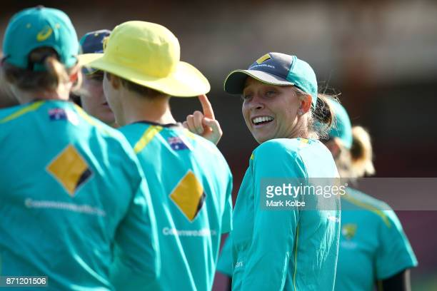 Ashleigh Gardner shares a laughs during an Australian women's Ashes series training session at North Sydney Oval on November 7 2017 in Sydney...