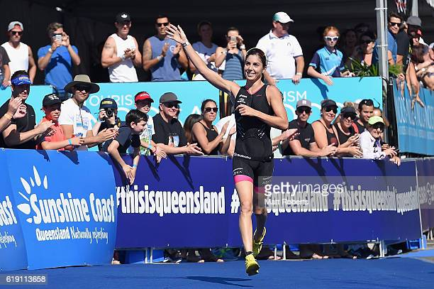 Ashleigh Gentle celebrates winning the Noosa Triathlon on October 30 2016 in Noosa Australia