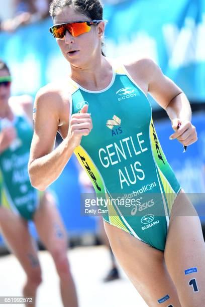 Ashleigh Gentle during the Mooloolaba ITU World Cup Triathlon on March 11 2017 in Sunshine Coast Australia
