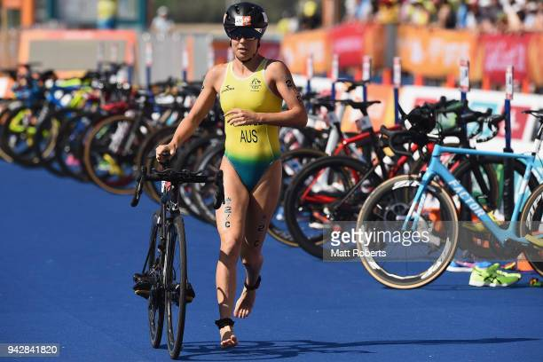 Ashleigh Gentle of Australia competes during the Triathlon Mixed Team Relay on day three of the Gold Coast 2018 Commonwealth Games at Southport...