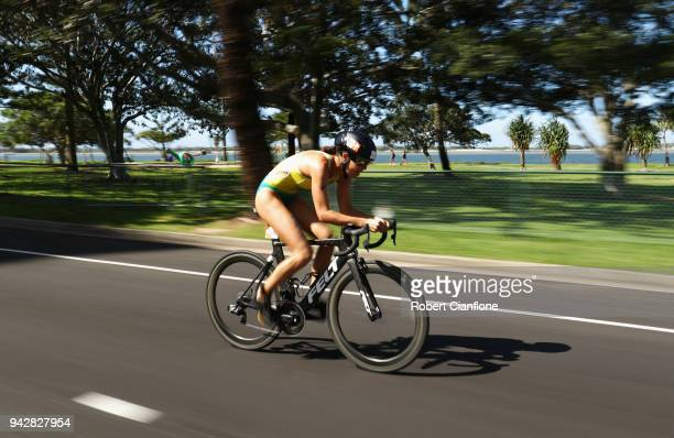 Ashleigh Gentle of Australia competes in the Mixed Team Relay Final during the Triathlon on day three of the Gold Coast 2018 Commonwealth Games at...