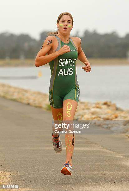 Ashleigh Gentle of Australia competes in the run leg of the triathlon teams relay during day four of the Australian Youth Olympic Festival at the...