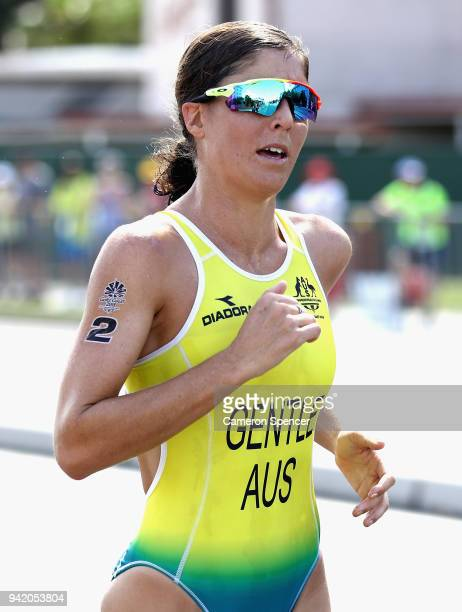 Ashleigh Gentle of Australia during the Women's Triathlon on day one of the Gold Coast 2018 Commonwealth Games at Southport Broadwater Parklands on...