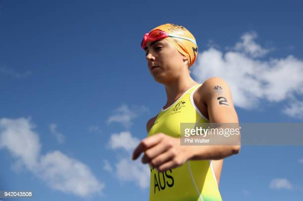 Ashleigh Gentle of Australia looks on prior to the Women's Triathlon on day one of the Gold Coast 2018 Commonwealth Games at Southport Broadwater...