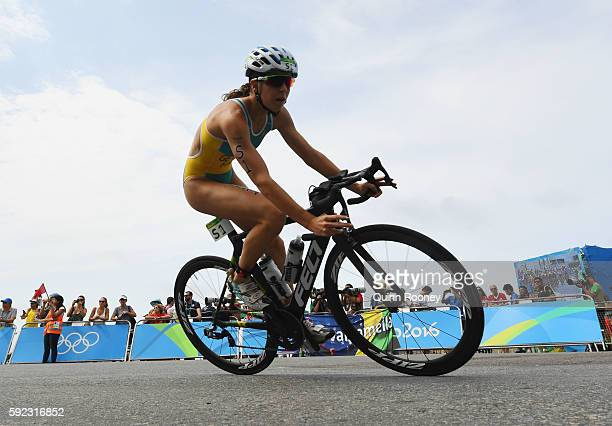 Ashleigh Gentle of Australia rides during the Women's Triathlon on Day 15 of the Rio 2016 Olympic Games at Fort Copacabana on August 20 2016 in Rio...