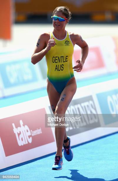Ashleigh Gentle of Australia runs during the Women's Triathlon on day one of the Gold Coast 2018 Commonwealth Games at Southport Broadwater Parklands...