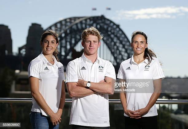 Ashleigh Gentle Ryan Fisher and Emma Moffatt pose during the Australian Olympic Games Triathlon Team Announcement at Museum of Contemporary Art on...
