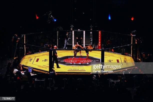 Ashleigh Grimshaw in action against Ronnie Mann during the Cage Rage Championship 20 Born to fight event at Wembley Arena on February 10, 2007 in...