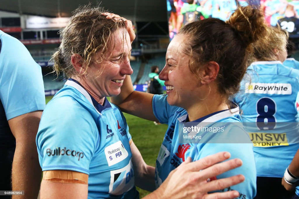 Ashleigh Hewson (L) and Cobie-Jane Morgan (R) of New South Wales celebrate victory during the Super W Grand Final match between the the New South Wales Women and the Queensland Women at Allianz Stadium on April 20, 2018 in Sydney, Australia.