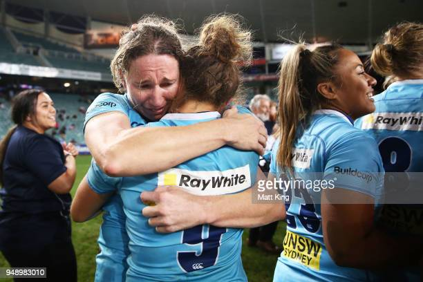 Ashleigh Hewson and CobieJane Morgan of New South Wales celebrate victory during the Super W Grand Final match between the the New South Wales Women...