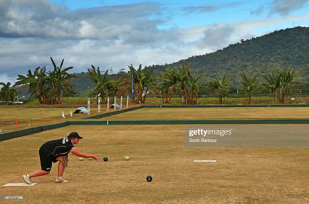 Ashleigh Jeffcoat of New Zealand bowls during the Mixed Pairs silver medal match at the Lawn Bowls at the Tuanaimato Sports Facility on day four of the Samoa 2015 Commonwealth Youth Games on on September 10, 2015 in Apia, Samoa.