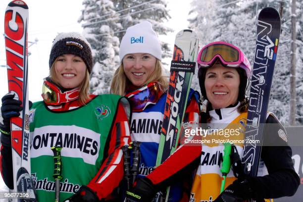 Ashleigh McIvor of Canada takes 1st place Julia Murray of Canada takes 2nd place Karin Huttary of Austria takes 3rd place during the FIS Freestyle...