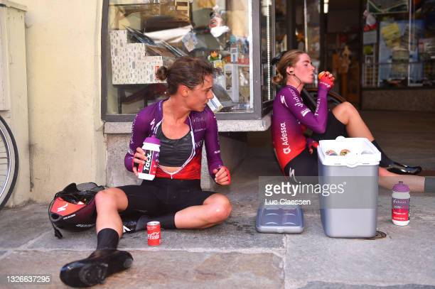 Ashleigh Moolman - Pasio of South Africa & Demi Vollering of Netherlands and Team SD Worx at arrival during the 32nd Giro d'Italia Internazionale...
