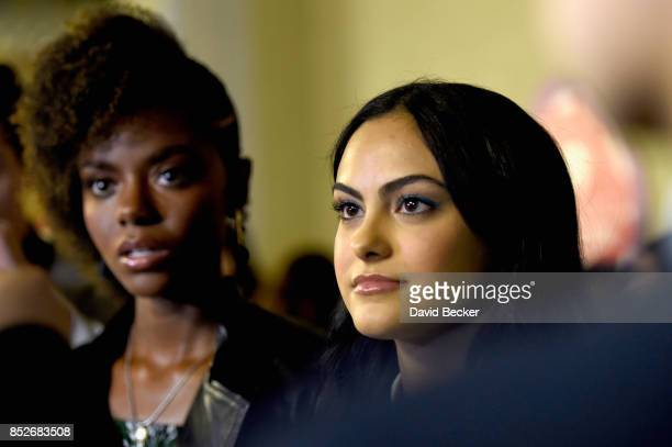 Ashleigh Murray and Camila Mendes attend the 2017 iHeartRadio Music Festival at TMobile Arena on September 23 2017 in Las Vegas Nevada