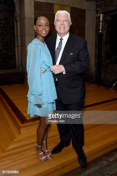 Ashleigh Murray and Dennis Basso attend the Dennis Basso Fall/Winter 2018 Collection Runway Show at Saint Bart's Church on February 12 2018 in New...