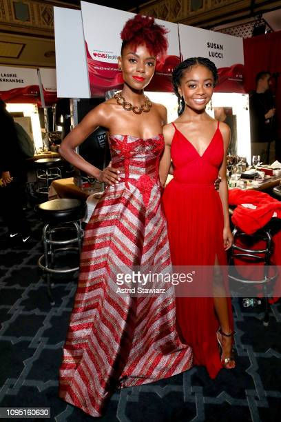 Ashleigh Murray and Skai Jackson pose backstage during The American Heart Association's Go Red for Women Red Dress Collection 2019 at Hammerstein...