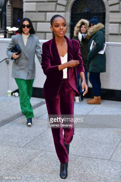 Ashleigh Murray arrives to Longchamp Fashion Show at 28 Liberty Street during New York Fashion Week on February 9 2019 in New York City
