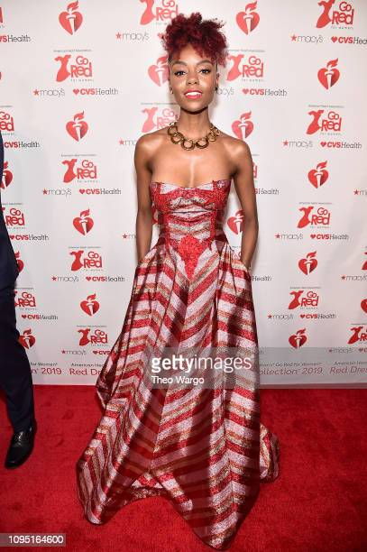 Ashleigh Murray attends The American Heart Association's Go Red For Women Red Dress Collection 2019 Presented By Macy's at Hammerstein Ballroom on...