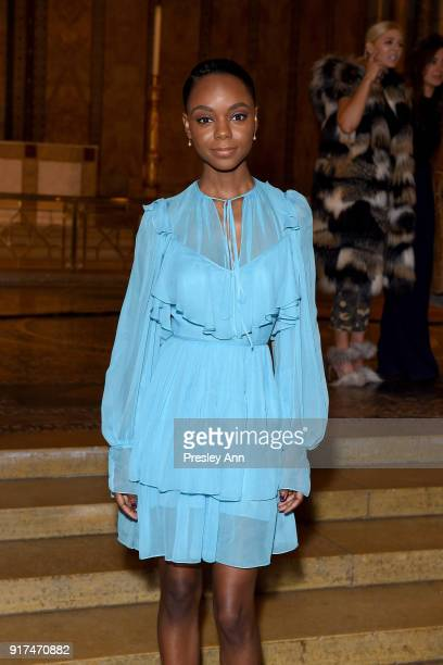 Ashleigh Murray attends the Dennis Basso Fall/Winter 2018 Collection Runway Show at Saint Bart's Church on February 12 2018 in New York City