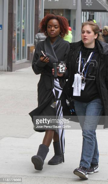Ashleigh Murray is seen on the set of 'Katy Keene' on March 25 2019 in New York City