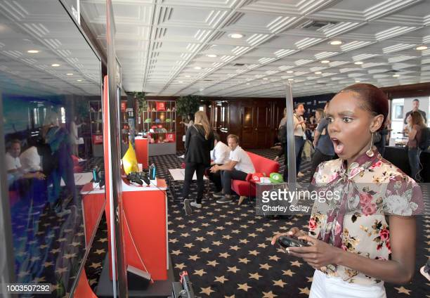 Ashleigh Murray tests her skills on Super Smash Bros Ultimate for Nintendo Switch at the Variety Studio at ComicCon 2018 on July 21 2018 in San Diego...