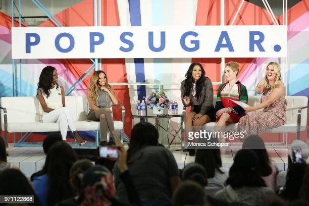 Ashleigh Murray Vanessa Morgan Candice Patton Caity Lotz and Kirbie Johnson participate in the Screen Queens panel on day 2 of POPSUGAR Play/Ground...