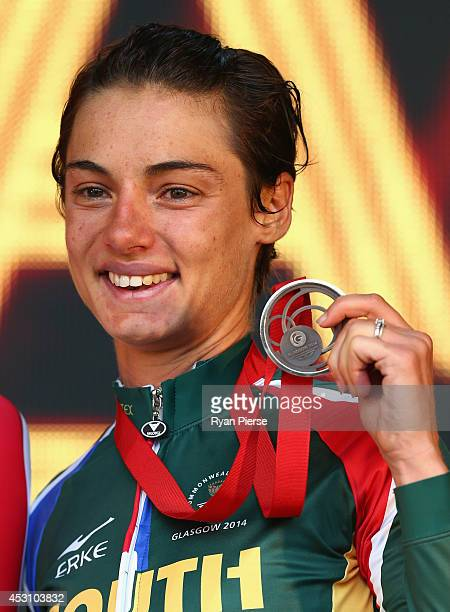 Ashleigh Pasio of South Africa celebrates with her bronze medal after the Women's Cycling Road Race during day eleven of the Glasgow 2014...