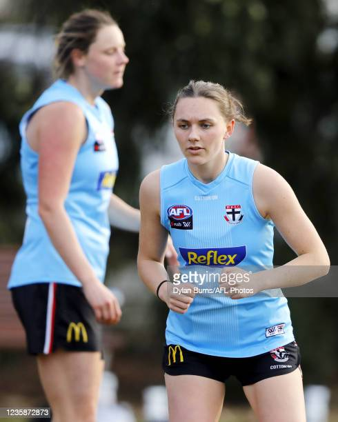Ashleigh Richards of the Saints looks on during the St Kilda training session at RSEA Park on October 14, 2021 in Melbourne, Australia.