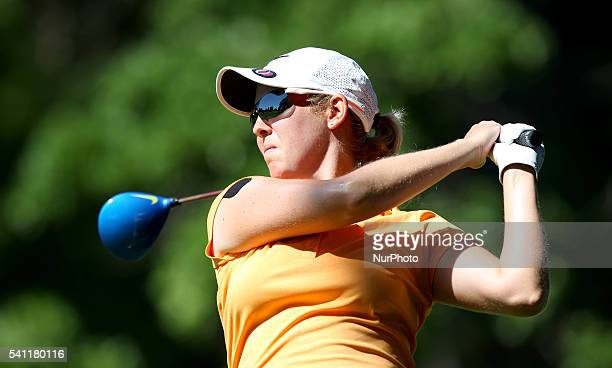 Ashleigh Simon of South Africa follows her tee shot on the ninth hole during the second round of the Meijer LPGA Classic golf tournament at...