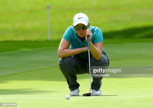 Ashleigh Simon of South Africa lines up her putt on the 17th green during the Ricoh Women's British Open Day Two at Woburn Golf Club on July 29 2016...