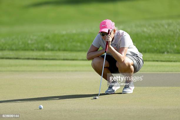 Ashleigh Simon of South Africa on the 5th green during the delayed second round of the 2016 Omega Dubai Ladies Masters on the Majlis Course at the...