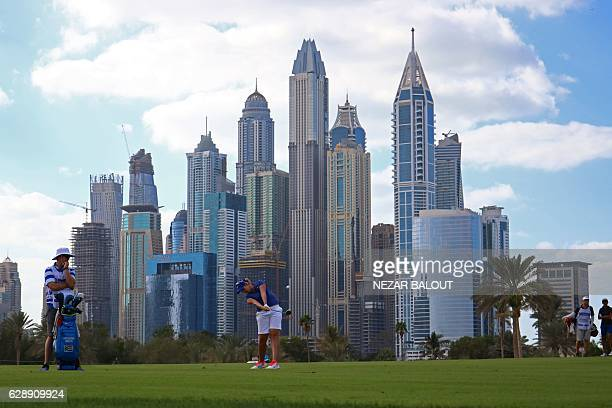 Ashleigh Simon of South Africa plays a shot during the final round of the 2016 Omega Dubai Ladies Masters at the Emirates Golf Club in Dubai on...