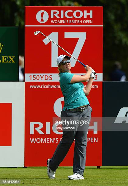 Ashleigh Simon of South Africa plays her first shot on the 17th tee during the Ricoh Women's British Open Day Two at Woburn Golf Club on July 29 2016...