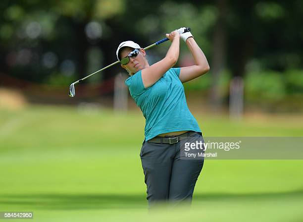 Ashleigh Simon of South Africa plays her second shot on the 18th fairway during the Ricoh Women's British Open Day Two at Woburn Golf Club on July 29...