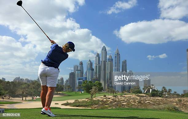 Ashleigh Simon of South Africa plays her tee shot on the eighth hole during the final round of the 2016 Omega Dubai Ladies Masters on the Majlis...