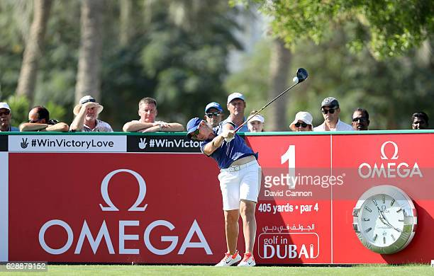 Ashleigh Simon of South Africa plays her tee shot on the first hole during the final round of the 2016 Omega Dubai Ladies Masters on the Majlis...