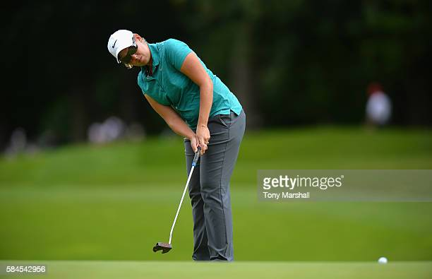 Ashleigh Simon of South Africa putts on the 18th green during the Ricoh Women's British Open Day Two at Woburn Golf Club on July 29 2016 in Woburn...