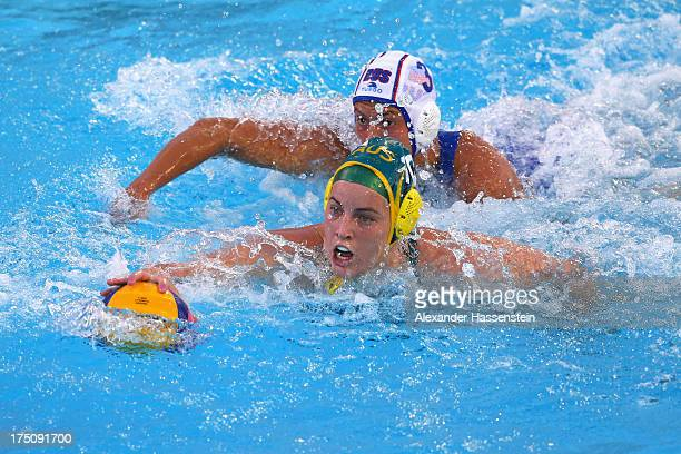 Ashleigh Southern of Australia in action against Ekaterina Prokofyeva of Russia during the Women's Water Polo Semifinal Round between Russia and...