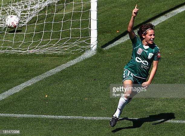 Ashleigh Sykes of Canberra celebrates after scoring her sides first goal during the round three W-League match between Sydney FC and Canberra United...