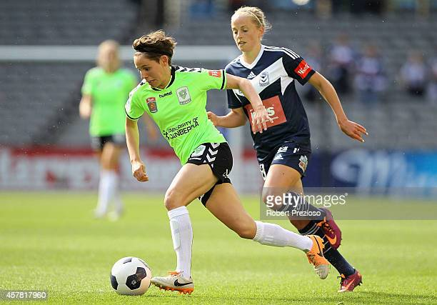 Ashleigh Sykes of Canberra controls the ball during the round seven WLeague match between Melbourne and Canberra at Etihad Stadium on October 25 2014...