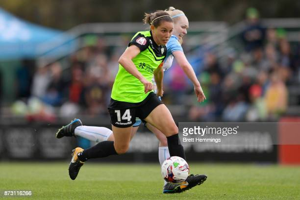 Ashleigh Sykes of Canberra controls the ball during the round three WLeague match between Canberra United and Sydney FC at McKellar Park on November...
